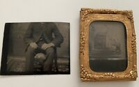 Rare Odd Headless Man Tintype Plus Photo Of Stereoview, Unique Photo BUY IT NOW