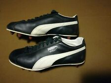 Vintage Puma Rocket Cleats Shoes Size 9 1/2 Black White Puma Football Leather