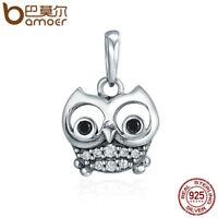 BAMOER Retro 925 Sterling silver Charm Cute owl With zircon Fit bracelet Chain