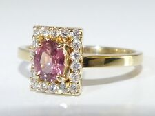 GENUINE RARE 1.0cts Untreated Padparadscha Sapphire & Diamond Ring 14k Y/Gold