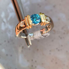 Solid 10k Yellow Gold 1.56 Ct Blue Real Moissanite Engagement Anniversary Ring