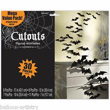 30 Assrtd Haunted Halloween Party Black 3D Bat Vampire BATS Cutouts Decorations