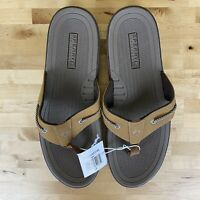 Sperry Thong Sandals Flip Flops Mens Size 13 Brown Leather Beach Sand