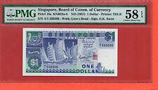 1987 Singapore Ship t $1 note.PMG58 EPQ Prefix A1