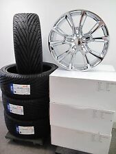"22"" JEEP GRAND CHEROKEE SRT8 STYLE NEW CHROME WHEELS TIRES SET OF FOUR 9113 D"