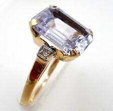 Art Deco Amethyst & Diamond 10K Yellow Gold Ring Size 5.5. Antique Jewelry