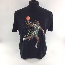 Vintage Air Jordan Nike T-Shirt Graphic Print Bball Black Tee Crew Neck Sz L H5B