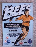 Barnet v Colchester United football programme, GM Vauxhall Conference, 1/1/91