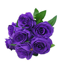 Large 9 HEADS Artificial Rose Silk Flowers Floral Valentines Wedding Purple