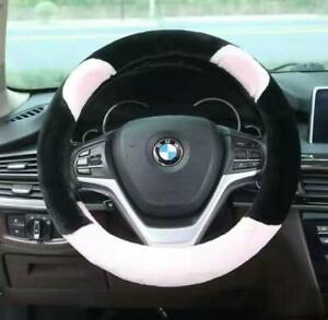 UKNEST COTTON+ PINK BK STITCH STEERING WHEEL COVER GLOVE FOR UNIVERSAL CARS