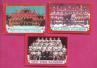 1973-74 OPC FLYERS + RANGERS + FLAMES  TEAM PHOTO CARD   (INV# J0177)