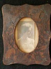 Antique Pyrography Picture Frame Wood Burned Carved Folk Art Floral
