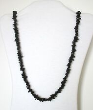 "Black Agate Natural Chip Stones Beads Necklace. 32"" Long.  NWT   BKAT"