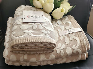 LUXURY CARO HOME FLOWERS WITH  ROSETTE BORDER SCULPTURED BATH TOWELS 4PC SET