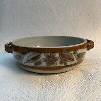 """Vtg Ken Edwards Pottery Tonala El Palomar Green 9""""x9 Round handles Serving Bowl"""