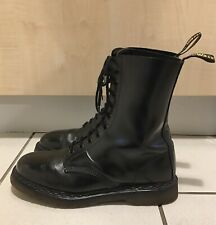 Dr Martens AirWair 10 Eyelet Black Leather Boots Size UK 10