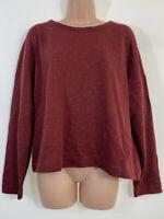 NEXT burgundy ochre yellow studded relaxed sweatshirt blouse top size 12