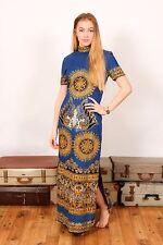 60s vintage blue white & gold indian ethnic high neck maxi dress
