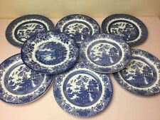 Ironstone Willow Pattern Transfer Ware Pottery Dinner Plates