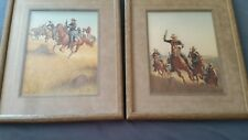 """FRANK C McCARTHY""""The pursuit by the Cavalry"""" #650 Two prints signedMatted-Framed"""