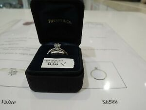 AUTHENTIC TIFFANY & CO PLATINUM 0.43CT DIAMOND RING