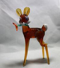 Hand Blown Glass Lamp Glass Murano Art Glass Bambi with Flower  Figurine
