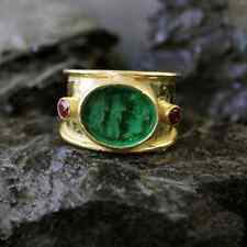 Handmade Hammered Intaglio Glass Ring With Ruby Gold over 925 Sterling Silver