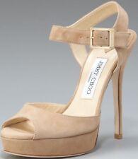JIMMY CHOO 'Linda' Nude Suede Peep Toe Stiletto Platform Sandal UK 7 Eu 40