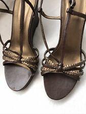 Ladies Brown Strappy Wedge Heel Sandals Size 6.5