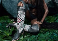 COBRA SOCIETY Charcoal Southwestern Over The Knee Zeus Boots