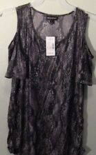 Fashion Bug Womens Cold Off Shoulder Shirt Knit Tunic Top Large L Snake Stretchy