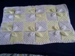 HAND KNITTED BABY BLANKET - WHITE AND YELLOW