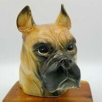 Vintage Ceramic 6 inch Boxer Dog Head Planter Vase Rubens Original Made in Japan