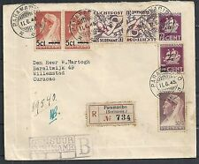 Surinam 1945 NVPH Airmail 24fa cens R-cover to Willemstad