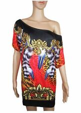 Women New Embellished Sexy Club Evening Animal Tunic Mini Dress sz 10 12 14 AB30