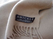 Luxurious Extra Long Camel 100% Cashmere Fringed Woven Scarf  by Amicale