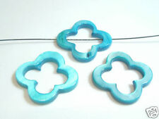 4 x 25mm Dyed Shell Flower Donut Beads : 05 Turquoise