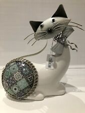 More details for shudehill giftware blue country art posing cat ornament gift figurine