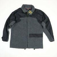Tommy Jeans Fleece Jacket Mens MEDIUM Black Gray Full Zip Soft Warm