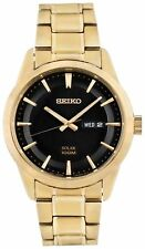 Seiko SNE368P9 Men's Gold Plated Solar Chronograph Day/Date Analogue Watch