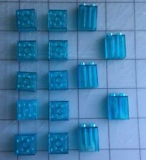 Lego Duplo Lot of 15 Clear Translucent Blue Ice Water Brick Blocks Assorted Rare