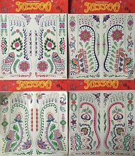 Set Of 4 Mixed Design Sheets Of Temporary Colour Body Tattoo Transfers *OFFER*