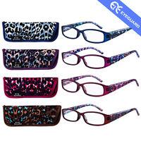 Leopard Pattern Reading Glasses Spring Hinge Stylish Rectangle Women Lady 4 Pair