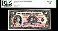 "CANADA BC9b $20 1935 ""PRINCESS ELIZABETH"" PCGS 30 ""ENGLISH VERSION""  GEM MARGINS"