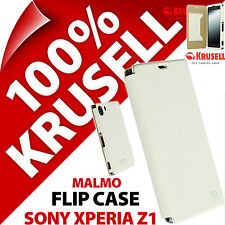 New Krusell Malmo Flipcover Flip Case For Sony Xperia Z1 White Synthetic Leather