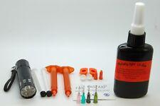 Paquet de Colle Légère 50g, Torche UV 9 LED, Buses pour Montage de mouches