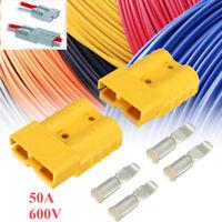 2Pcs Yellow Style Plug Connectors 50amp Power DC12/24V + 4 Terminal
