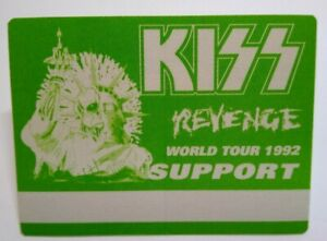 Kiss Revenge Backstage Pass Original Hard Rock Music Concert Tour Green Skull 92