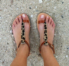 Buckle Flat (0 to 1/2 in.) Leather Animal Print Sandals & Flip Flops for Women