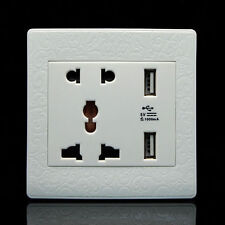 Power Outlet Panel Plate Dual USB Port Electric Wall Charger Dock Station Socket